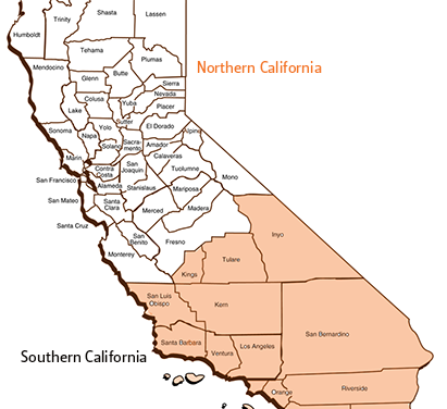 Southern and Northern California covid-19 cases by date – survey graph tracking daily cases with daily updates